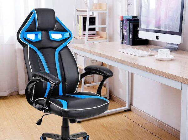 Costway Racing Stuhl in blau schwarz